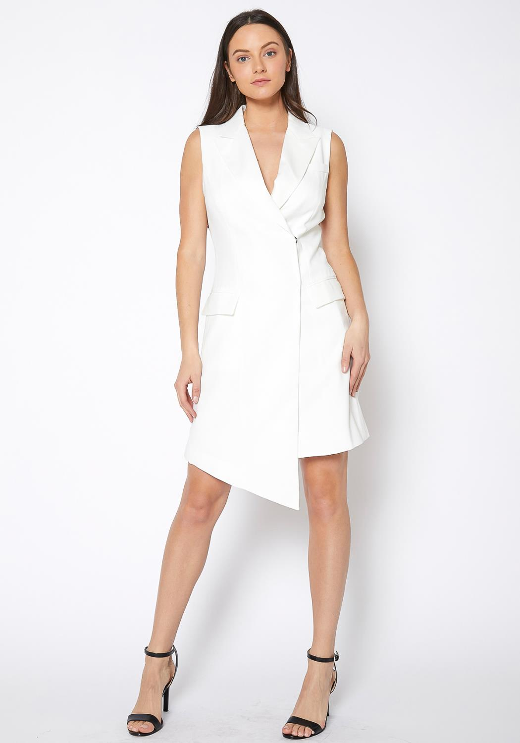Ro & De Asymmetrical Sleeveless Blazer Dress
