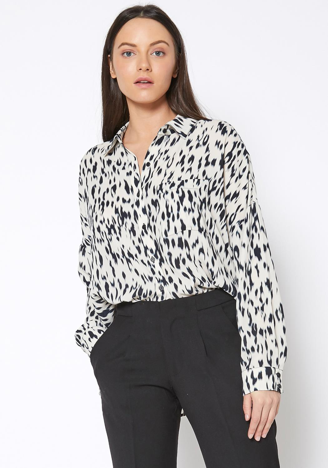 Ro & De Animal Printed Button Up Shirt