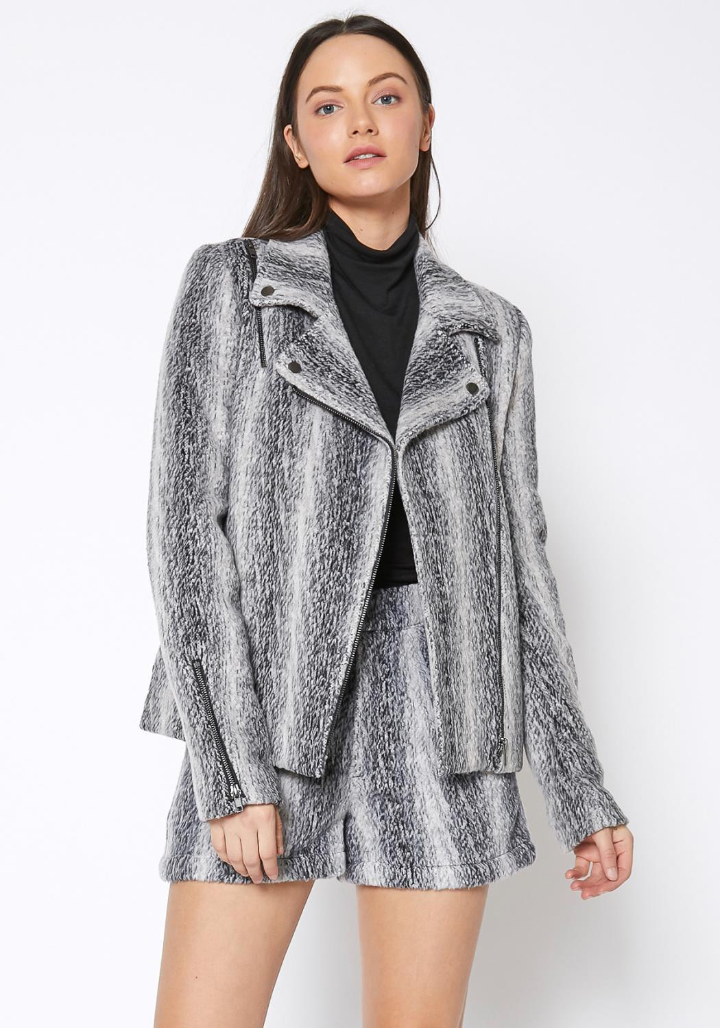 Ro & De Brushed Wool Moto Jacket