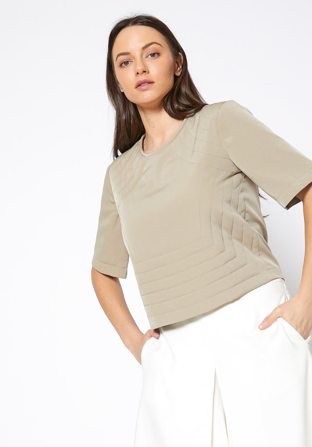 Ro & De Embossed Short Sleeve Crop Top