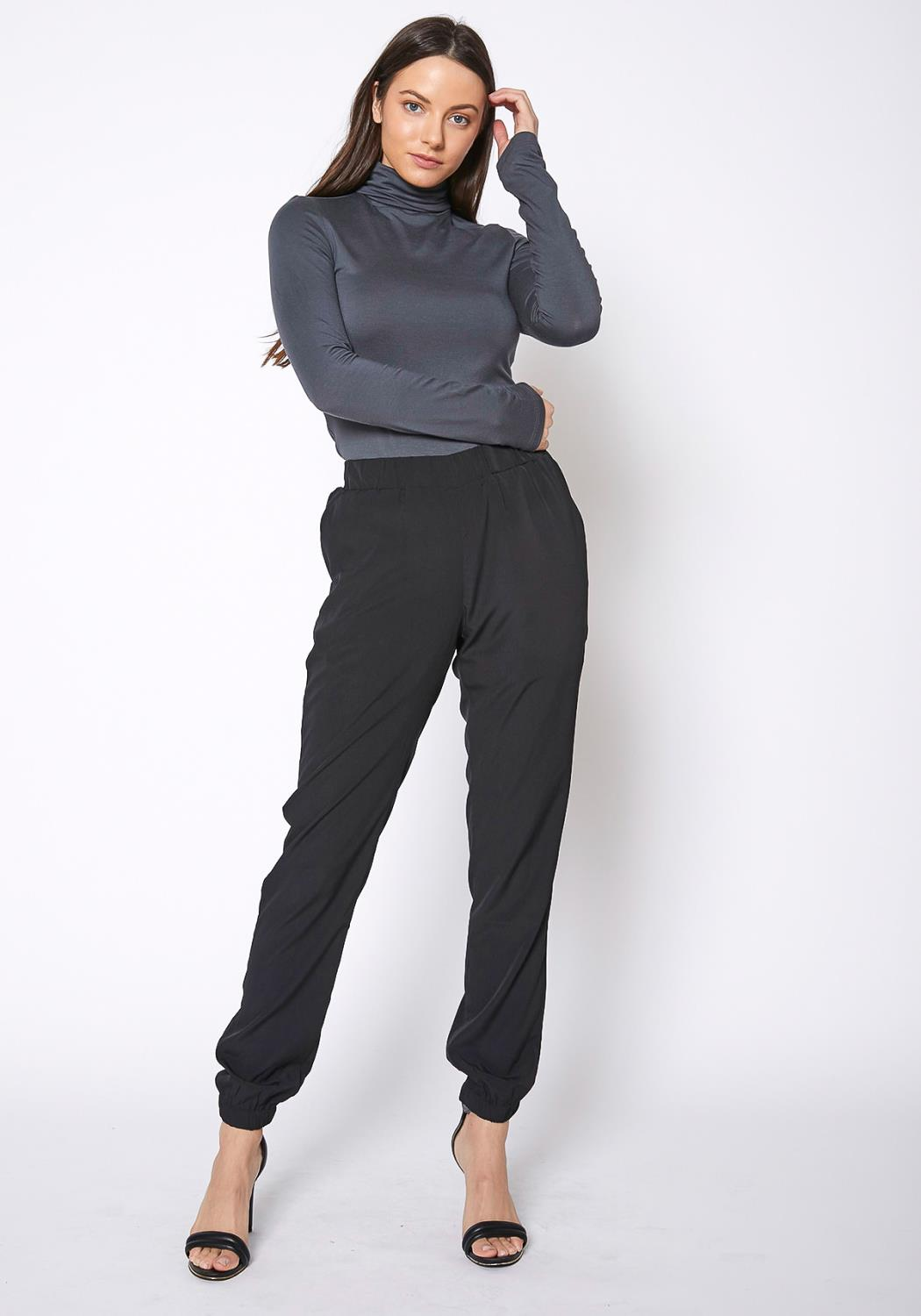 RO & DE Ankle Cuffed Black Crepe Pants