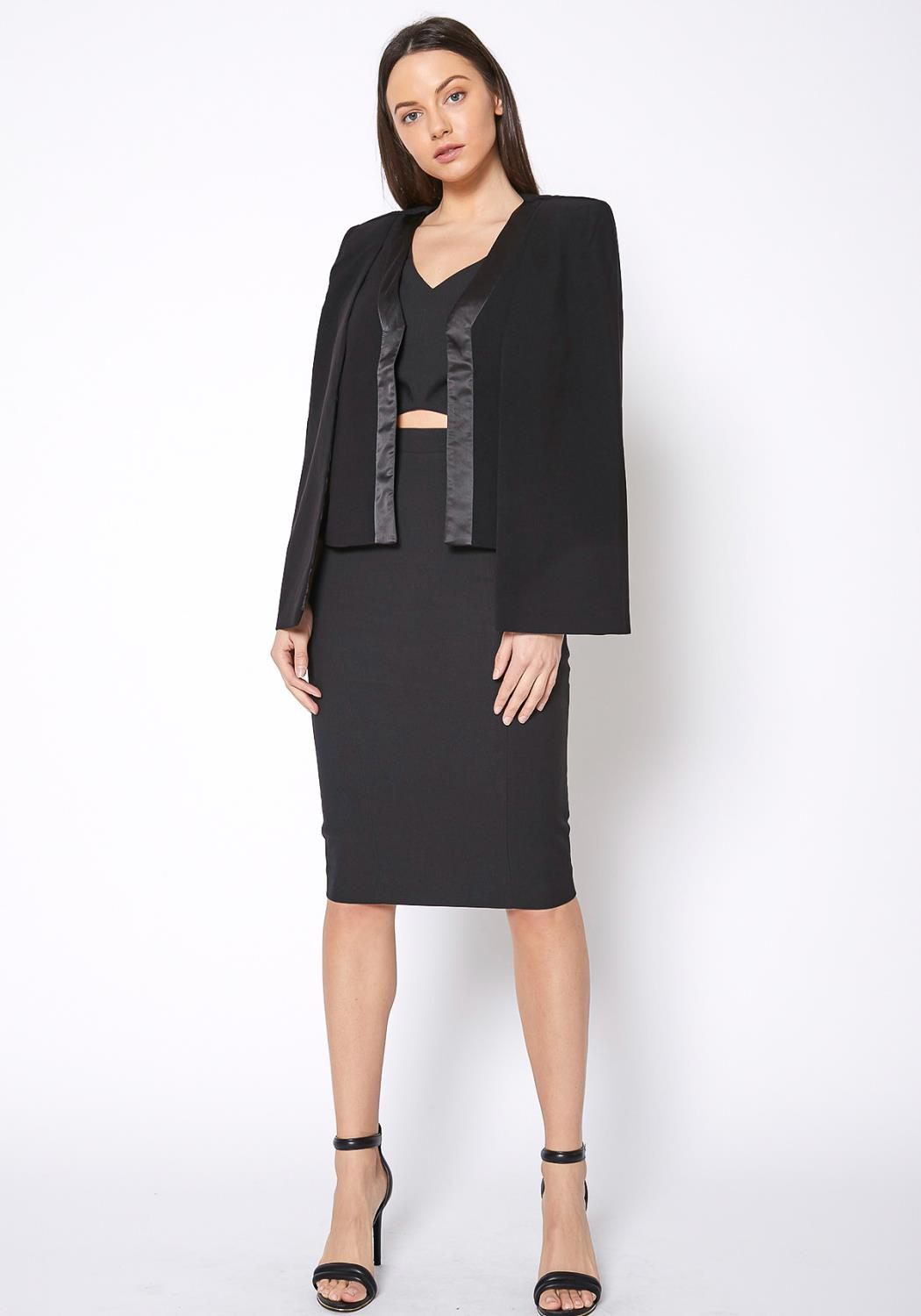 RO & DE Black Satin Trim Cape Blazer