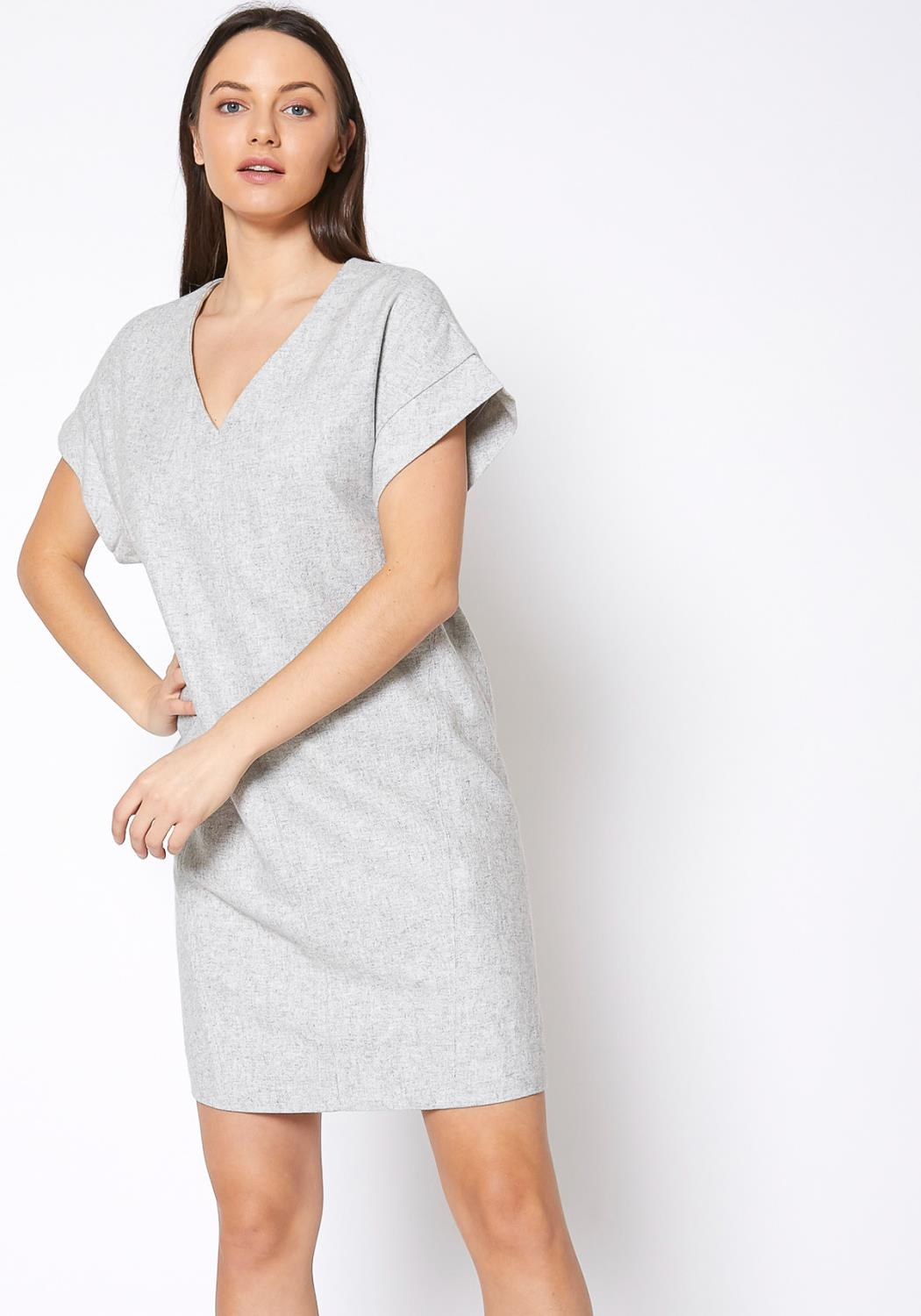 RO & DE Casual Heather Grey V Neck Dress