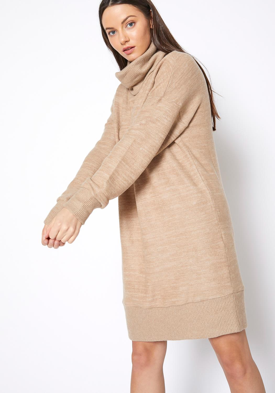 RO & DE Turtle Neck Ribbed Sweater Mini Dress