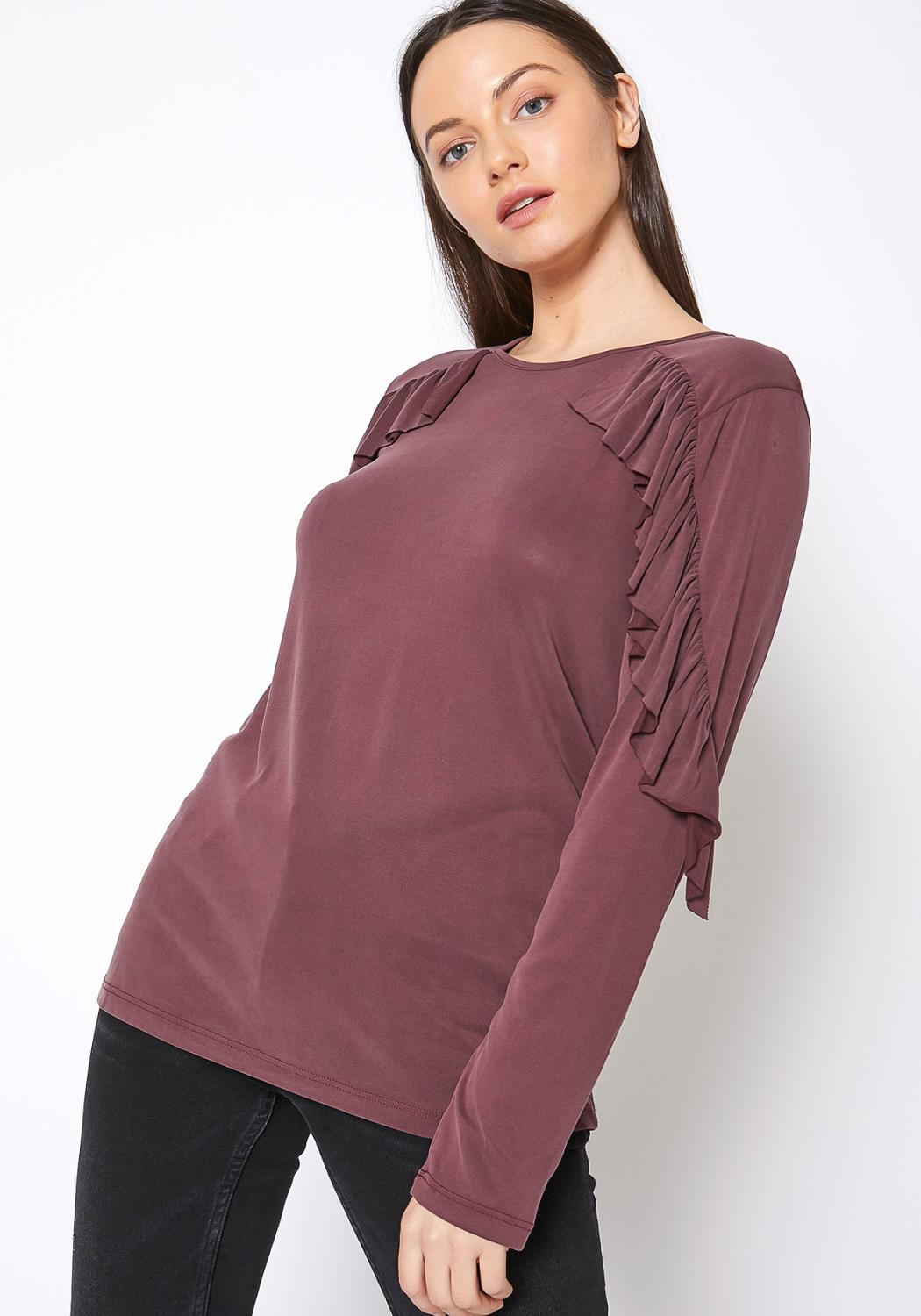 RO & DE Ruffle Shoulder Crewneck Top