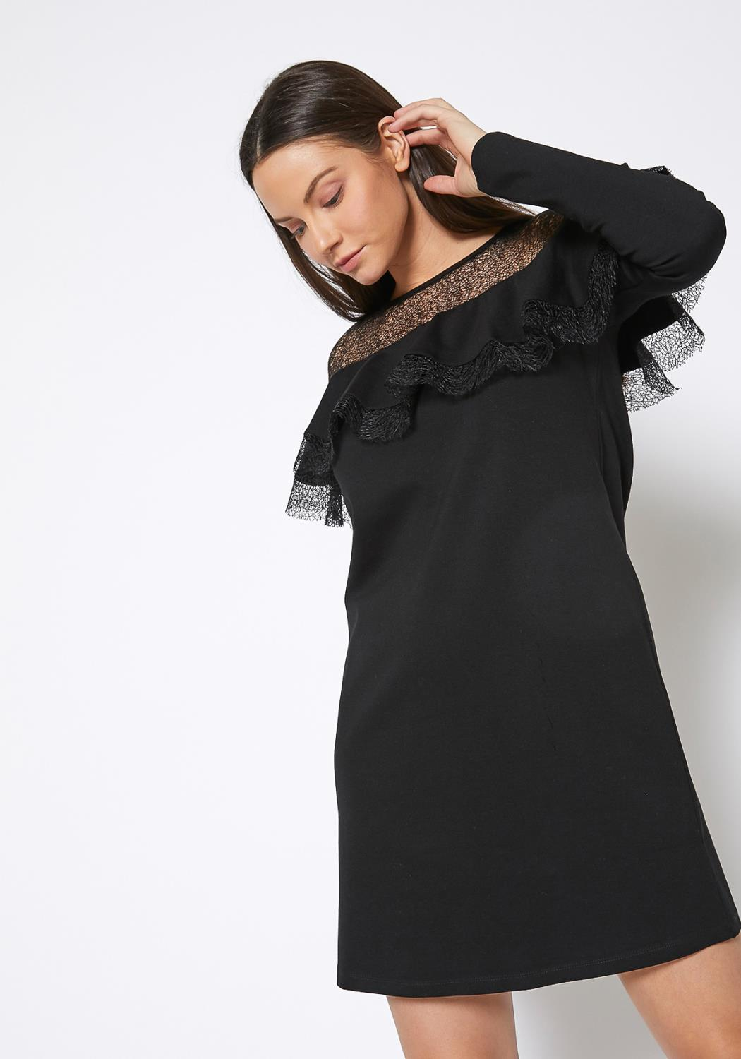 RO & DE Lace Trim Sweatshirt Dress