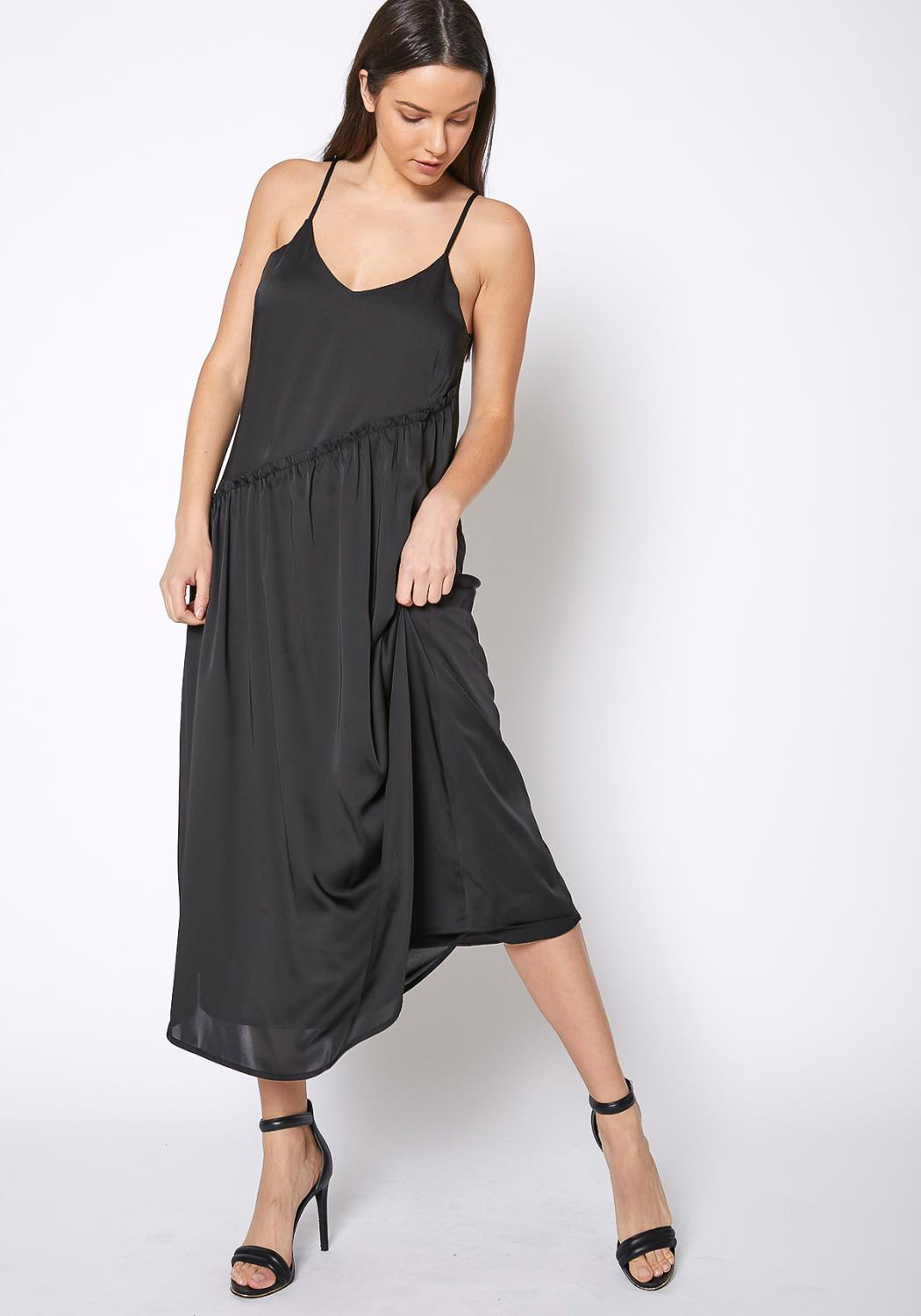 RO & DE Diagonal Patched Spaghetti Strap Maxi Dress