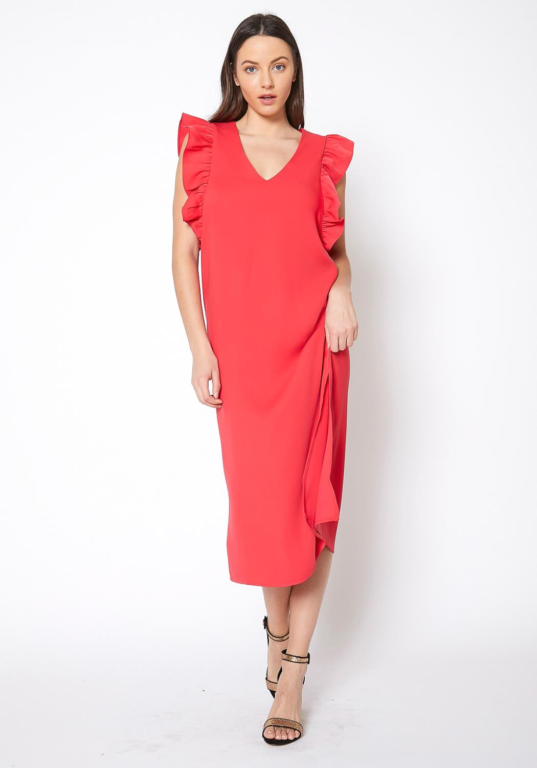 RO & DE Ruffle Shoulder Midi Slit Dress