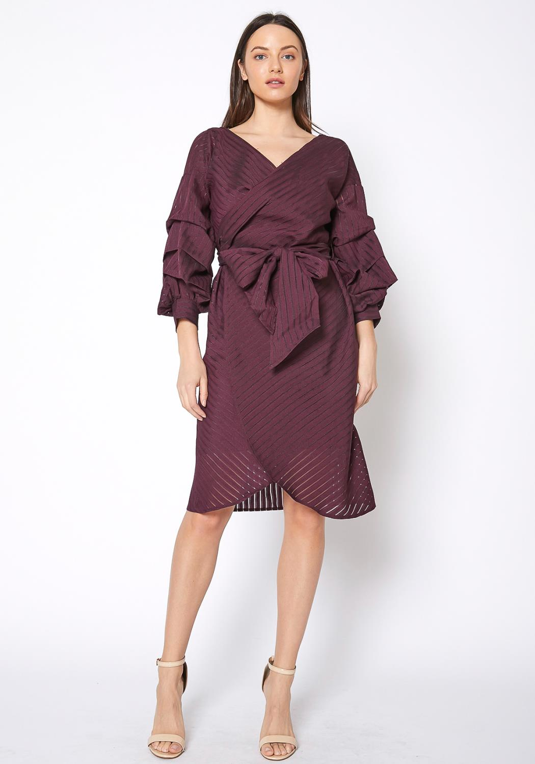 RO & DE Womens Organza Stripe Wrap Dress