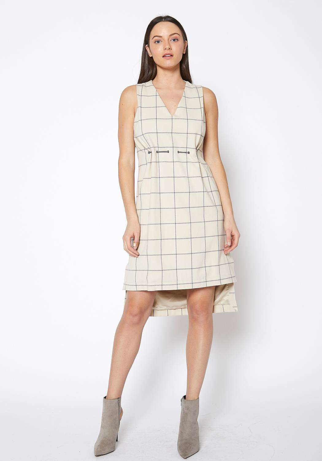 Ro & De Window Pane Plaid High Low Sleeveless Dress