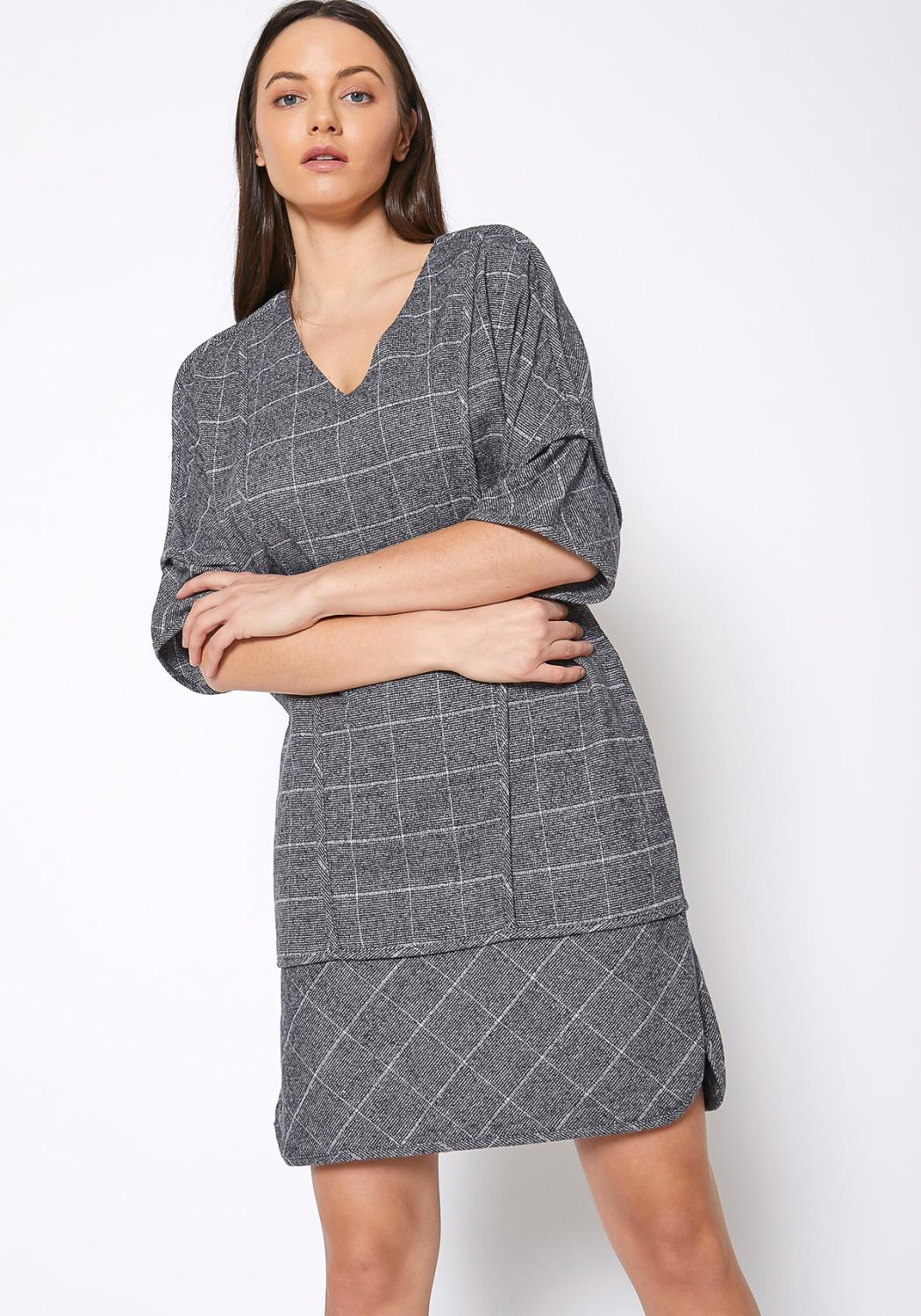 Ro & De V-Neck Brushed Cotton Check Dress