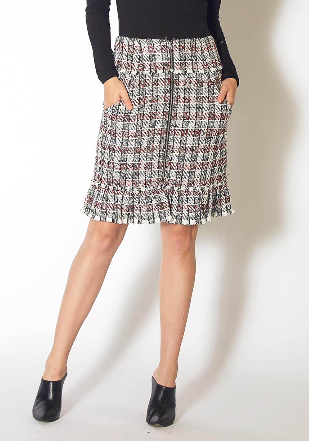 Pleione Plaid Tweed Zipper Front Skirt