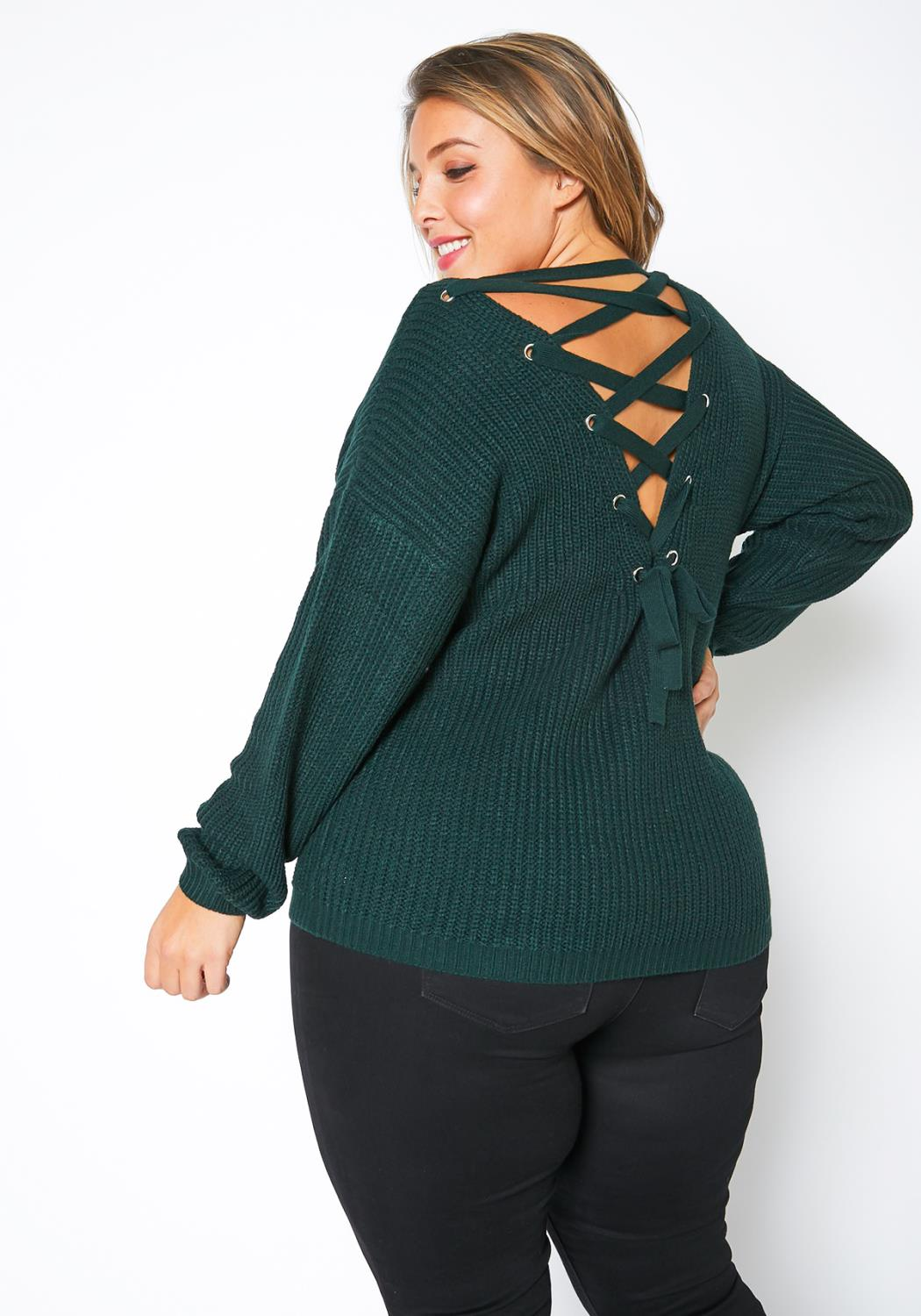 Pleione Plus Size Cross Lace Up Back Sweater
