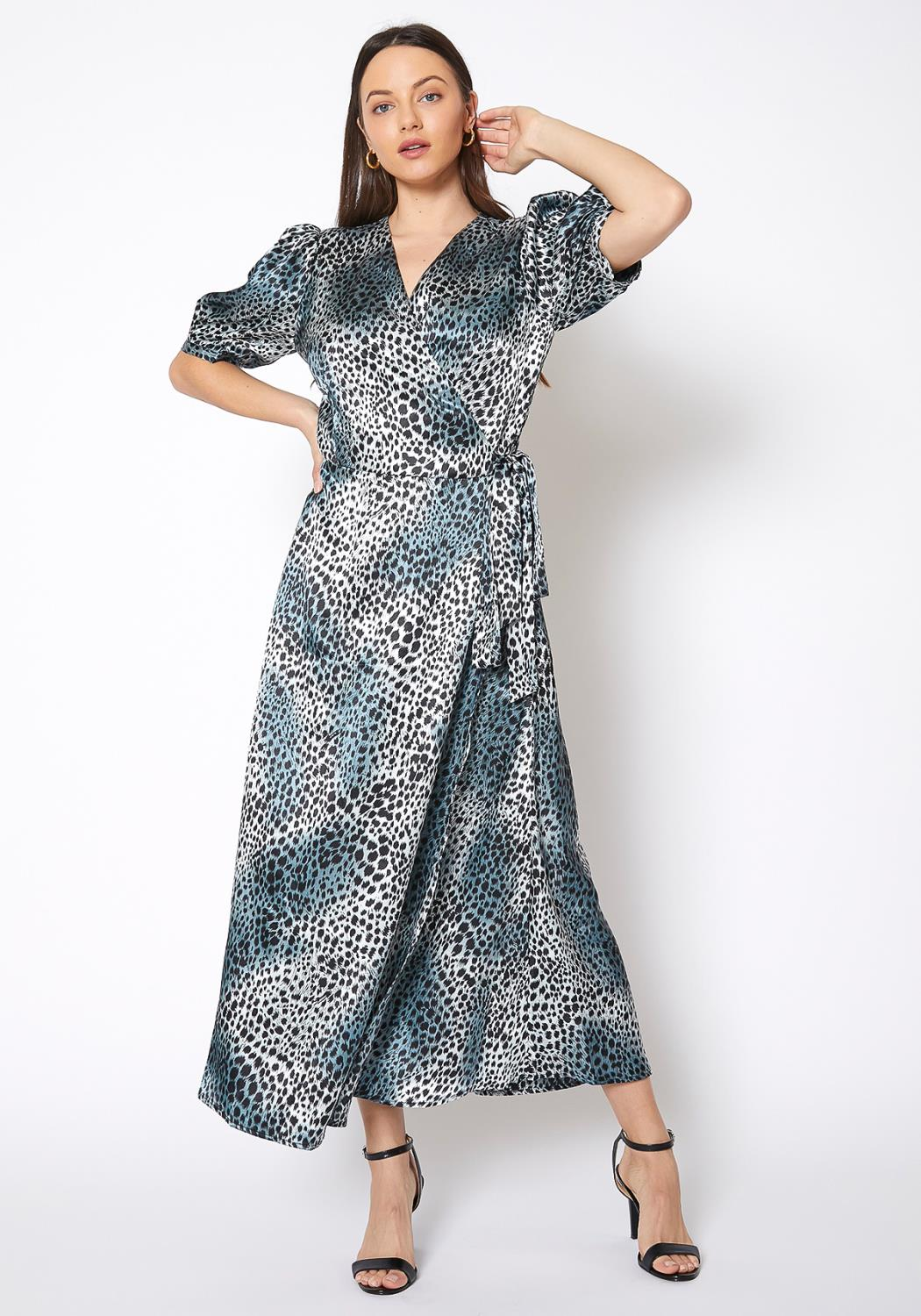 Pleione Satin Cheetah Print Wrap Maxi Dress