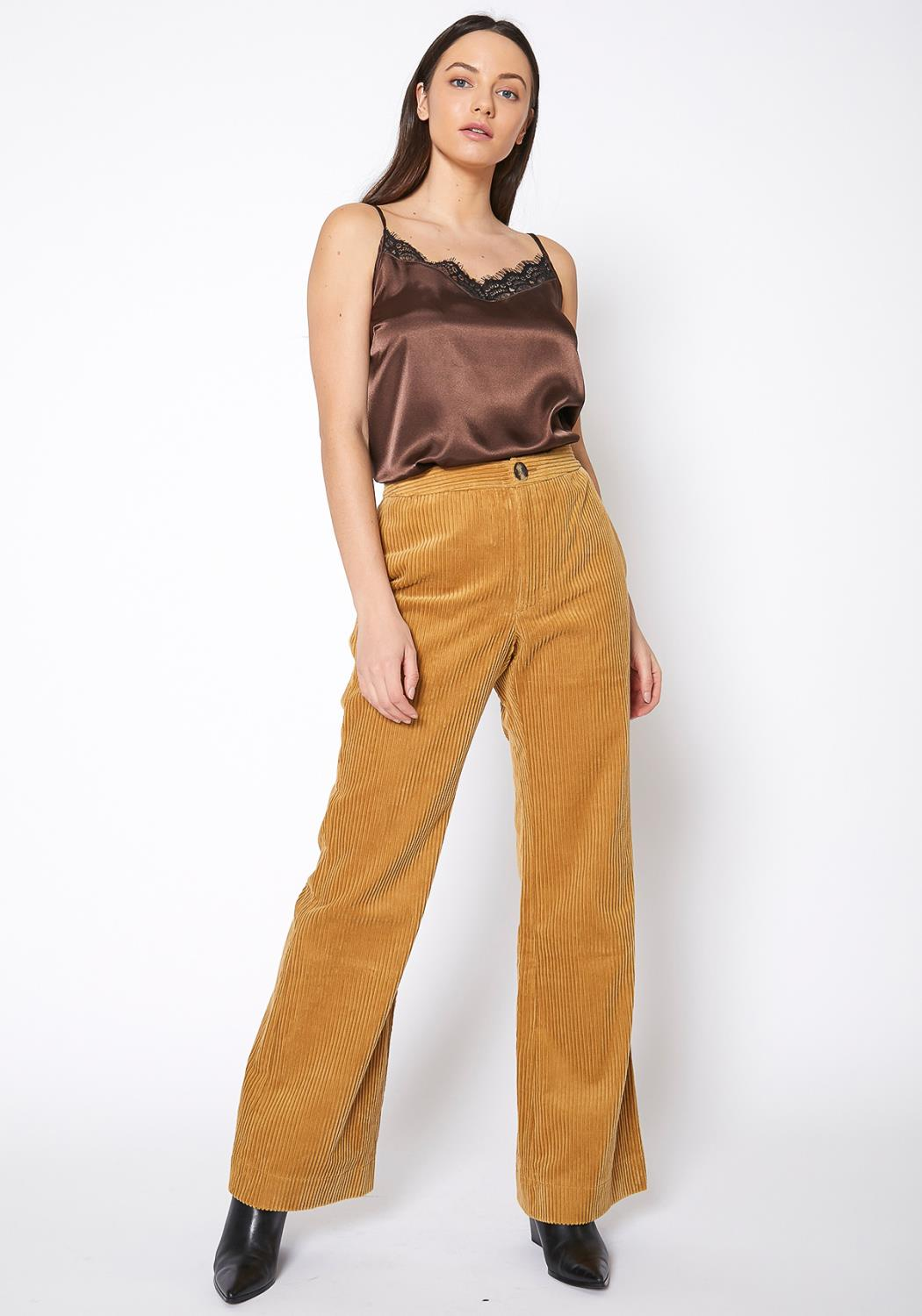 Pleione Corduroy Wide Leg High Waist Pants