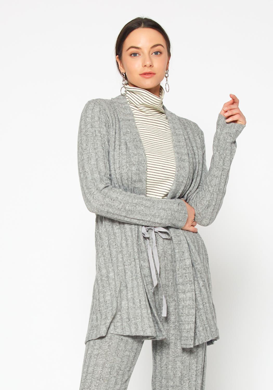 Pleione Cozy Ribbed Longline Cardigan