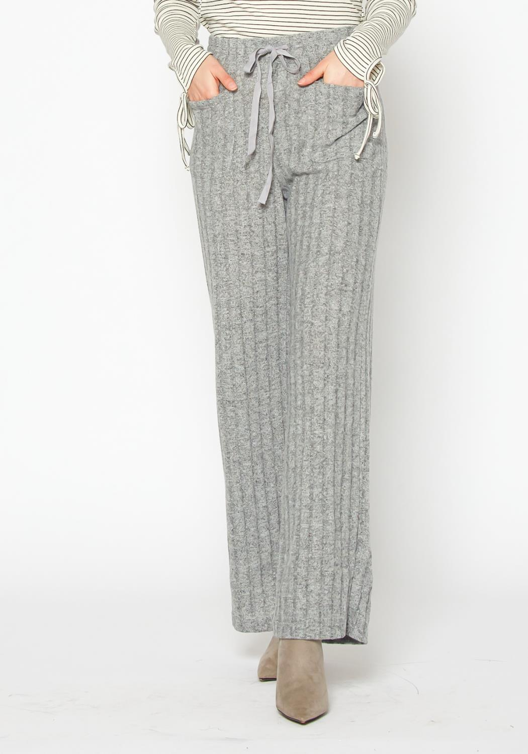 Pleione High Waist Ribbed Knit Straight Pants