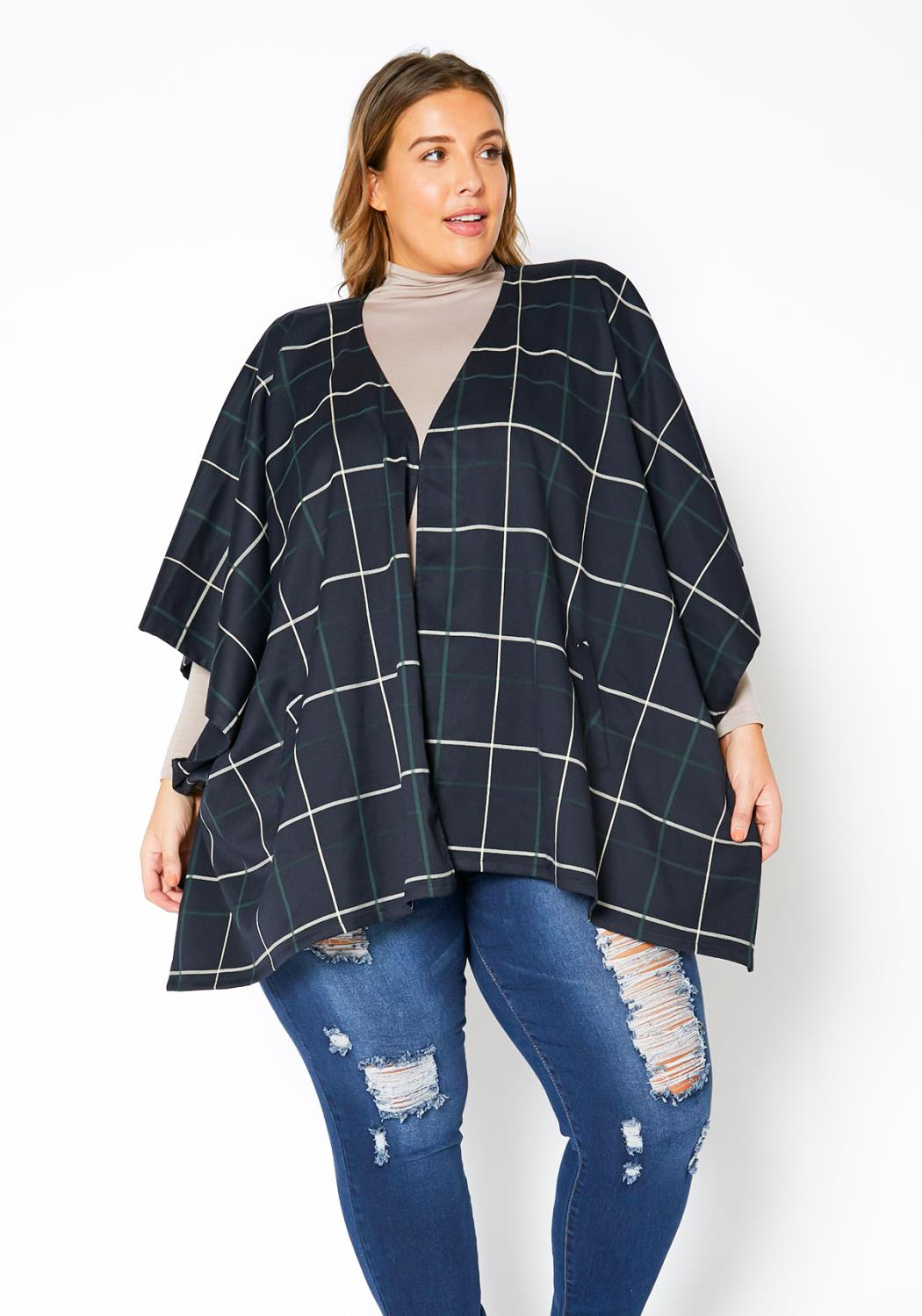 Pleione Plus Size Plaid Poncho Cardigan