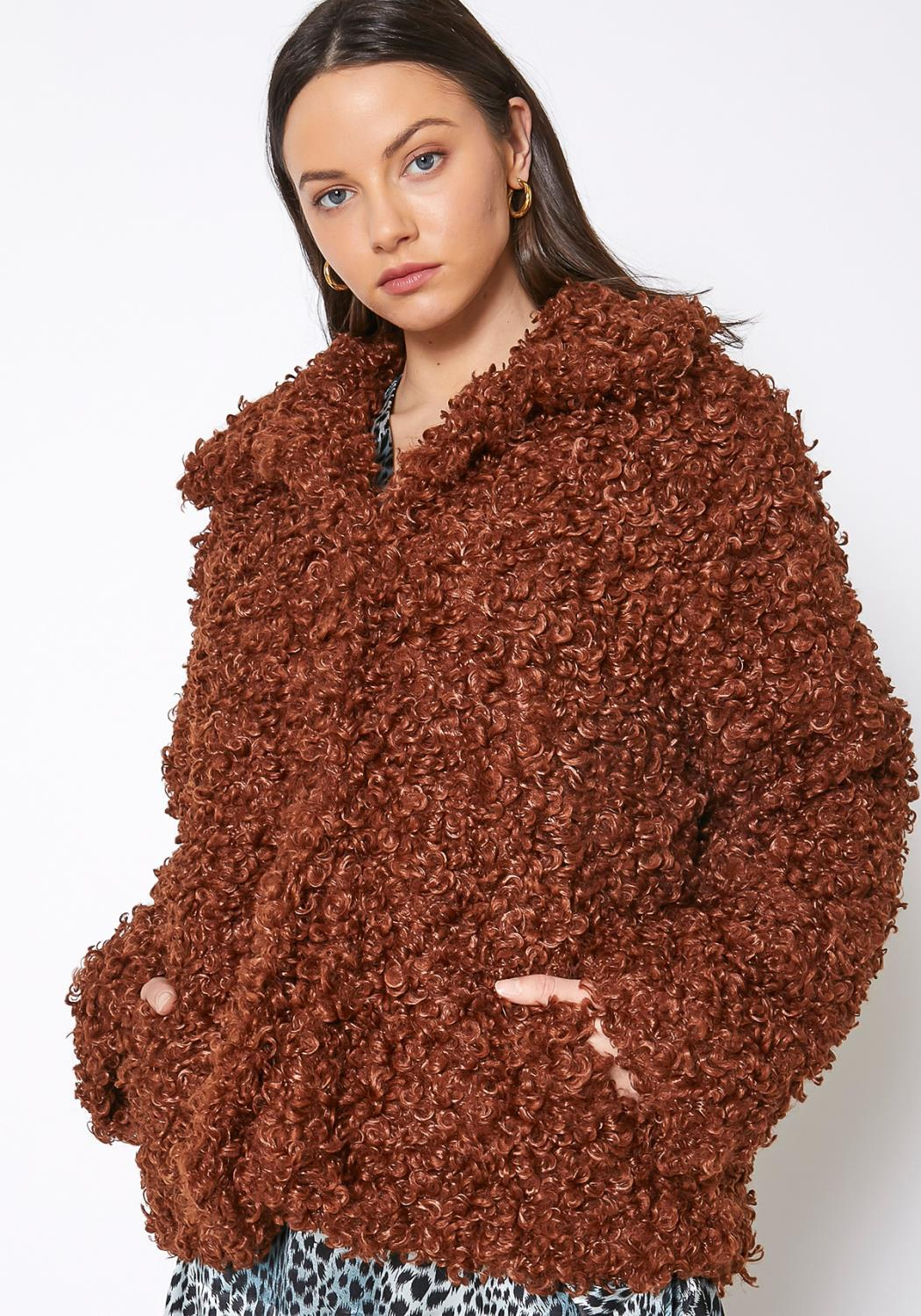 Pleione Womens Curly Faux Fur Teddy Coat