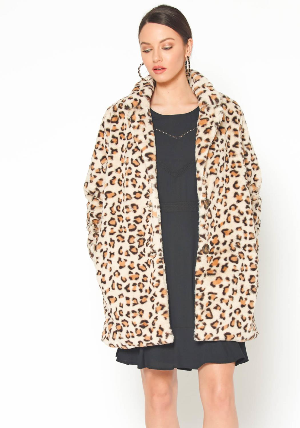 Pleione Womens White Leopard Longline Fur Coat
