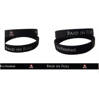 "photo of 12 ""Paid in Full"" Imprinted Christian Wristband Bracelets - Black with whit"