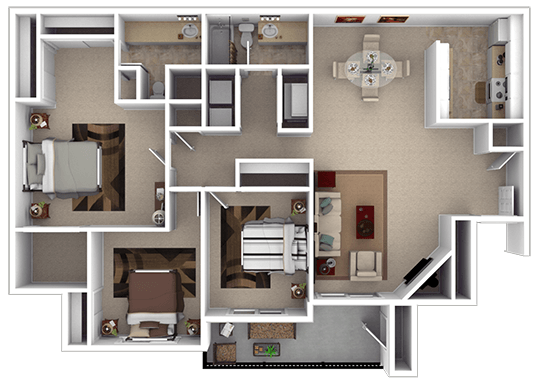 Floorplan for Hunters Woods Apartments