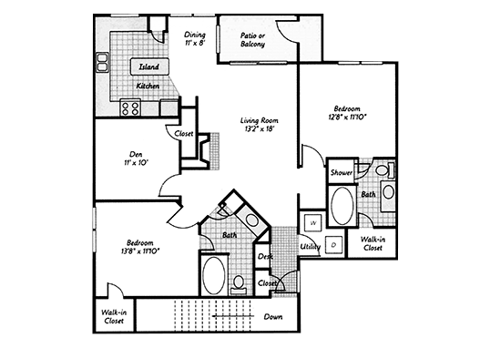 Floorplan for Retreat at Cheyenne Mountain Apartments
