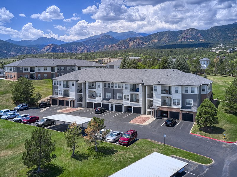 Building Aerial | Retreat at Cheyenne Mountain Apartments