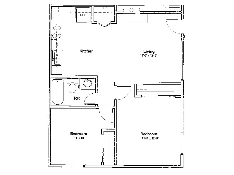Our 2x1 is a 2 Bedroom, 1 Bathroom Apartment