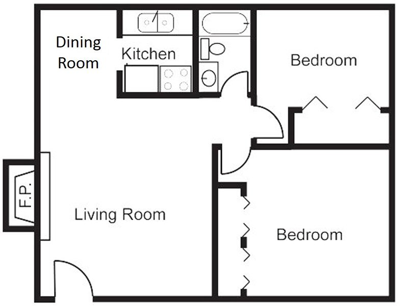Our 2x1F is a 2 Bedroom, 1 Bathroom Apartment