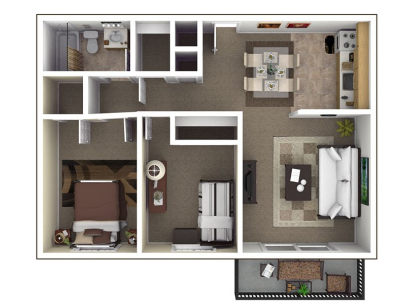 Our B2 is a 2 Bedroom, 1 Bathroom Apartment