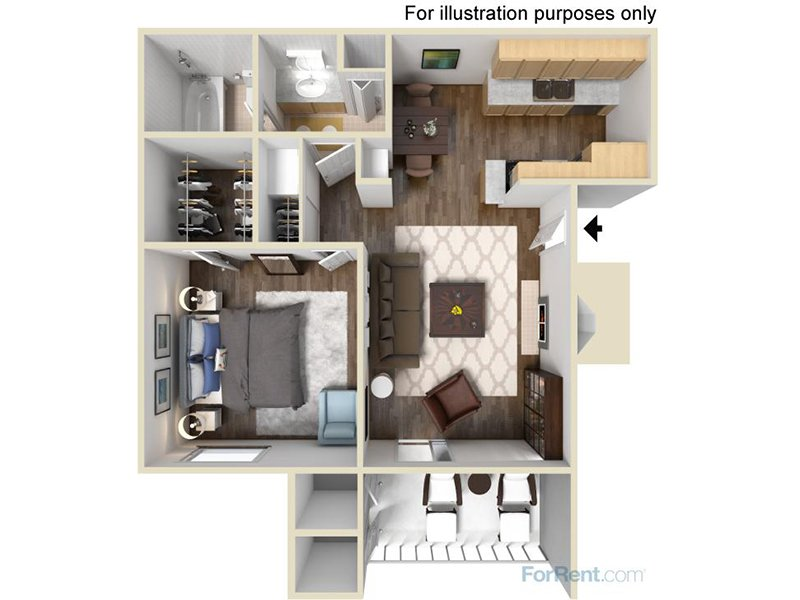 Our 1AR is a 1 Bedroom, 1 Bathroom Apartment