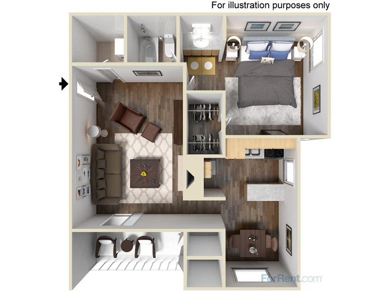 Our 1BRW is a 1 Bedroom, 1 Bathroom Apartment