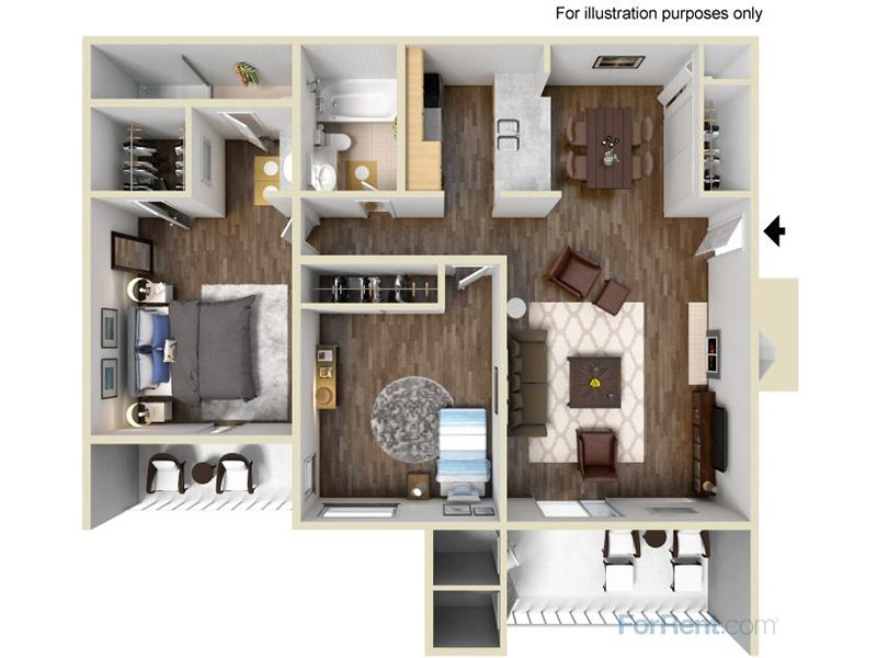 Our 2ARWP is a 2 Bedroom, 2 Bathroom Apartment