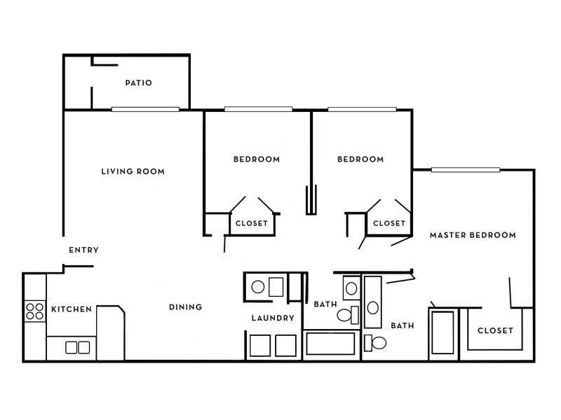 Our Casablanca is a 3 Bedroom, 2 Bathroom Apartment