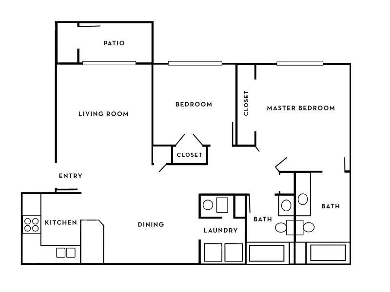 Our Sahara is a 2 Bedroom, 2 Bathroom Apartment