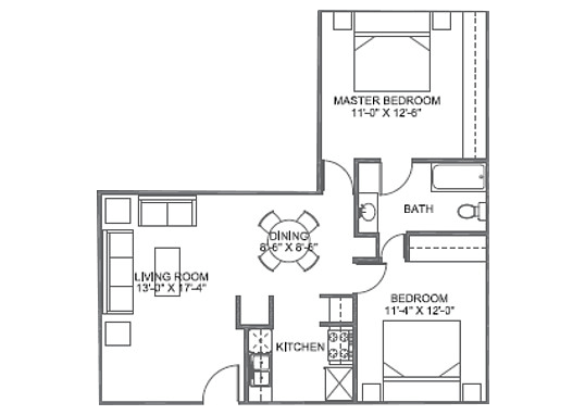 Floorplan for 25 Broadmoor Apartments