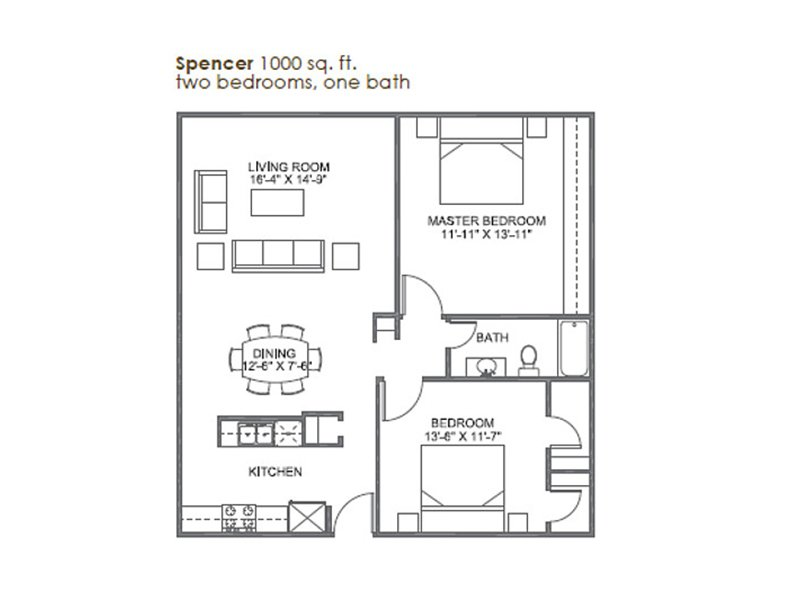 Our Spencer is a 2 Bedroom, 1 Bathroom Apartment