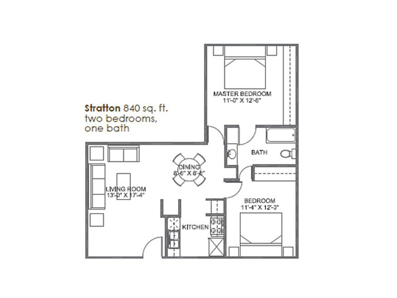 Our Stratton is a 2 Bedroom, 1 Bathroom Apartment