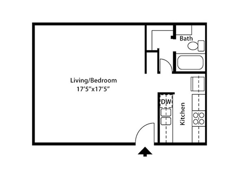 Our Strattus is a Studio Bedroom, 1 Bathroom Apartment