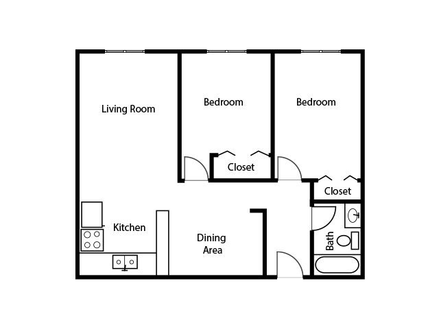 Our TWO BEDROOM ONE BATH A is a 2 Bedroom, 1 Bathroom Apartment