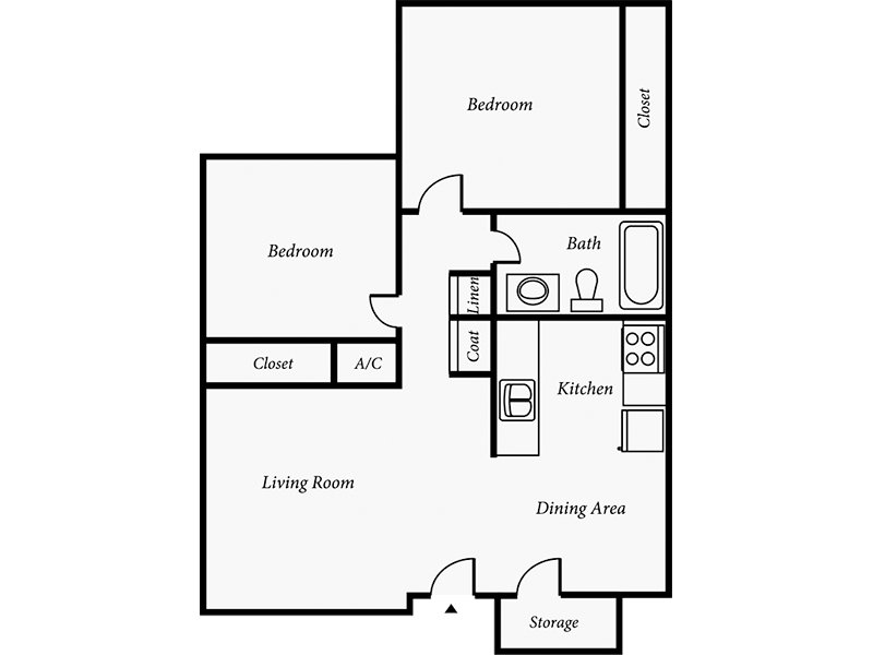 Our Cottonwood is a 2 Bedroom, 1 Bathroom Apartment