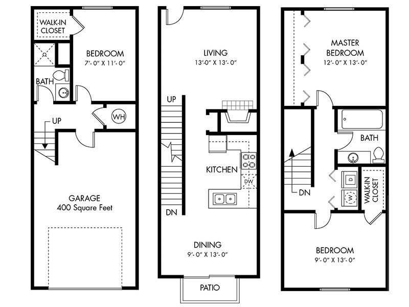 Floor Plans at Carefree Village Townhomes Apartments