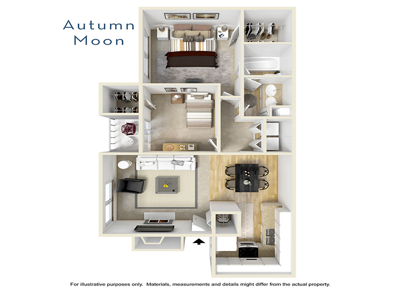 Our Autumn Moon is a 2 Bedroom, 1 Bathroom Apartment