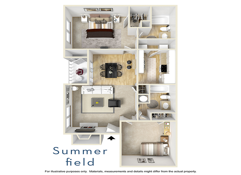 Our Summerfield is a 2 Bedroom, 2 Bathroom Apartment