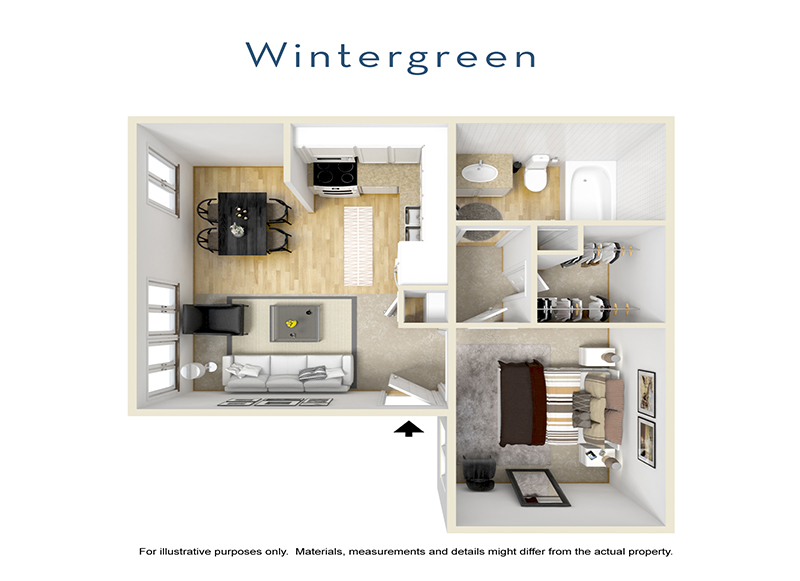Our Wintergreen is a 1 Bedroom, 1 Bathroom Apartment
