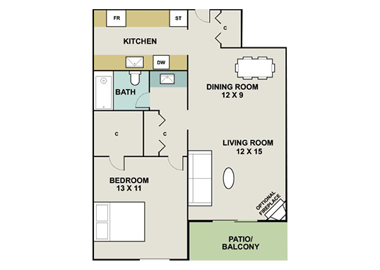 Floorplan for 3300 Tamarac Apartments