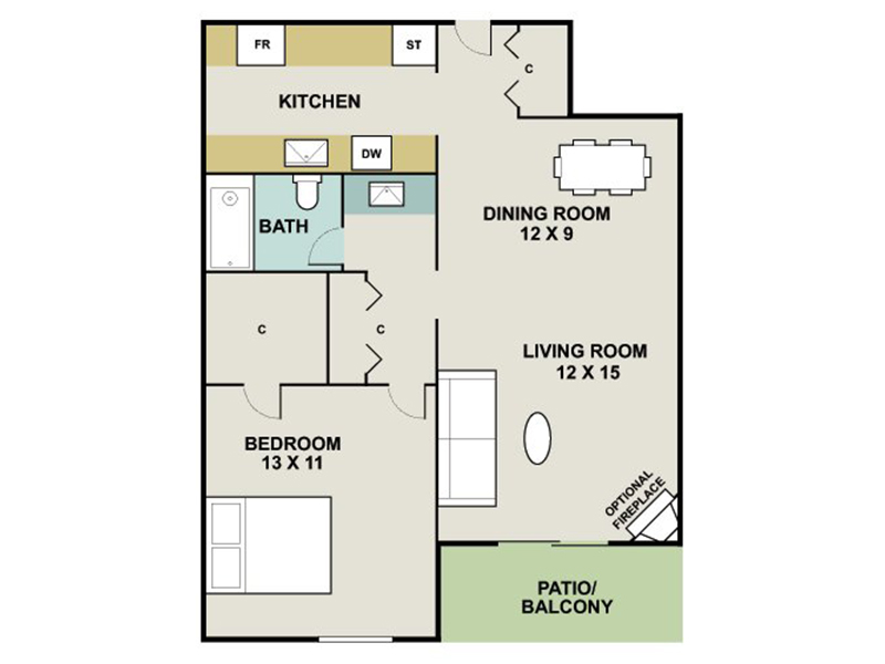 Our AGATE is a 1 Bedroom, 1 Bathroom Apartment