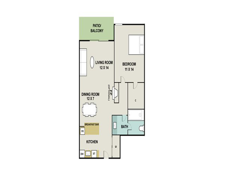 Our LIMESTONE is a 1 Bedroom, 1 Bathroom Apartment