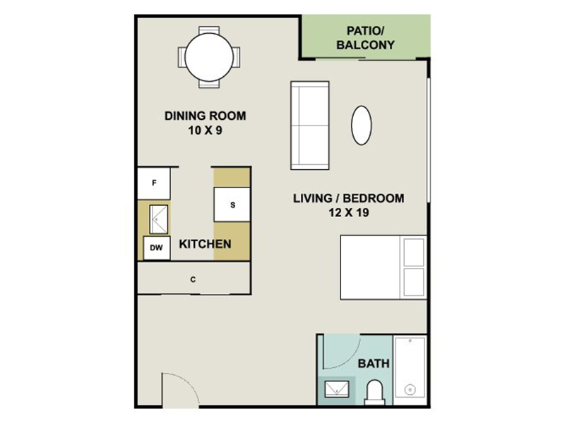 Our MICA is a Studio Bedroom, 1 Bathroom Apartment